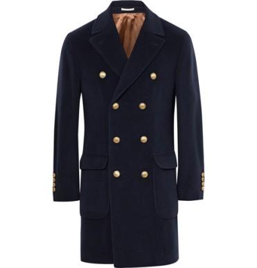 معطف أزرق بصدر مزدوج من Brunello Cucinelli