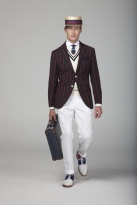 Boater-Hat-Striped-Blazer-White-Chinos-with-Crockett-Jones-shoes-
